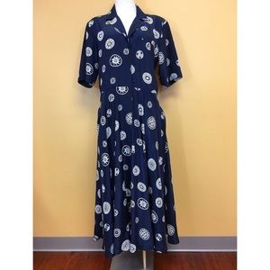 Vintage Navy Blue w/ White Print Shirtwaist Dress